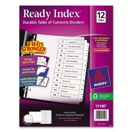 avery ready index table of contents dividers 5 tabs 1. Black Bedroom Furniture Sets. Home Design Ideas